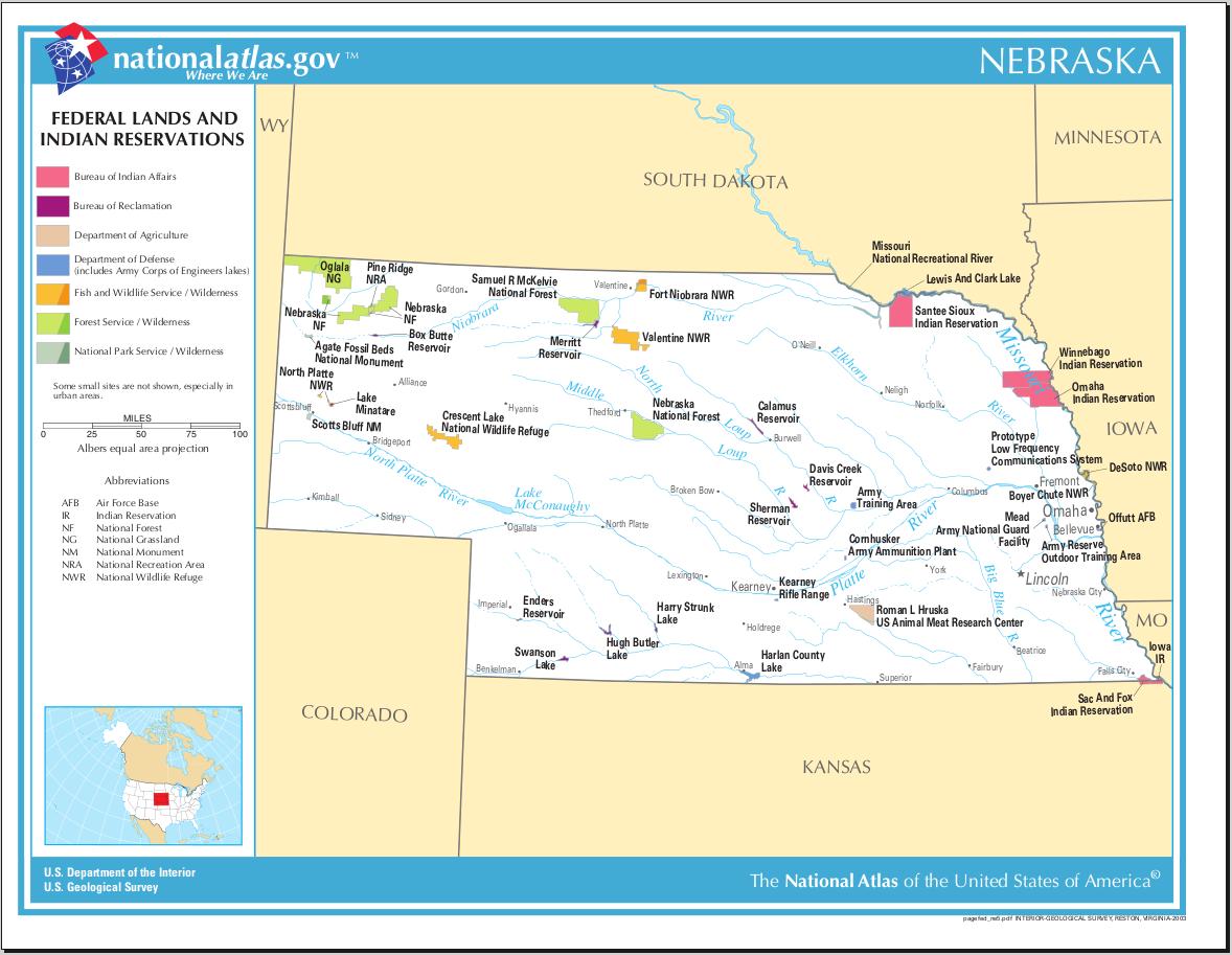 Map of Nebraska (Federal Lands and Indian Reservations ...
