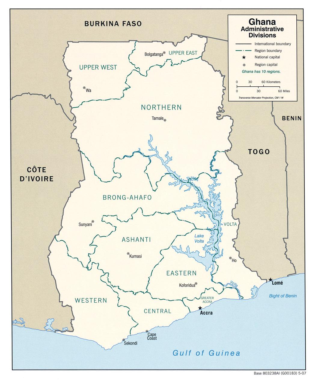 Map of Ghana (Regions) : Weltkarte.com - Karten und ...