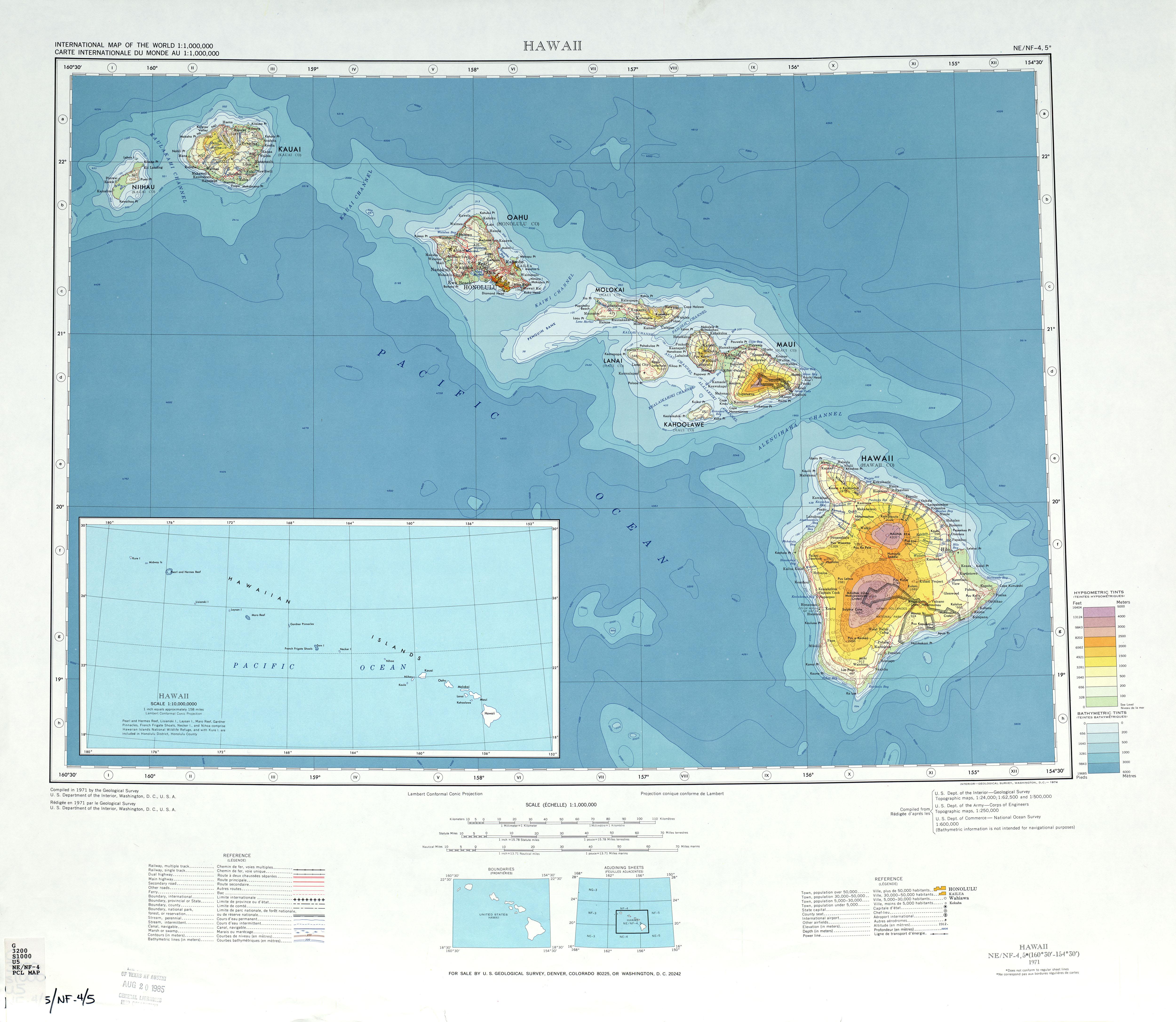 Map Of Hawaii Topographic Map Weltkarte Com Karten Und