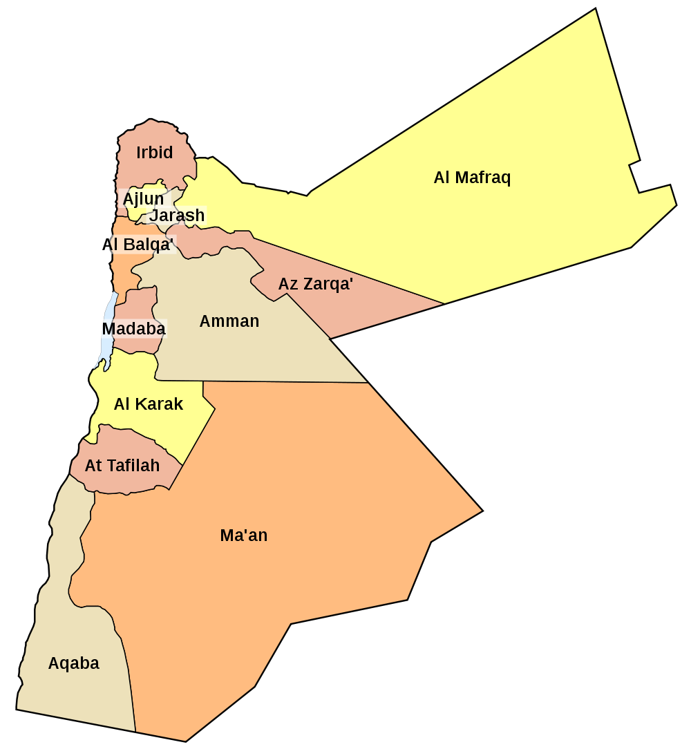 Map Of Jordan Map Governorates Worldofmapsnet Online Maps - Jordan map download