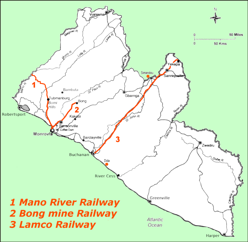 Map of Liberia (Map Railway Lines) : Worldofmaps.net - online Maps ...
