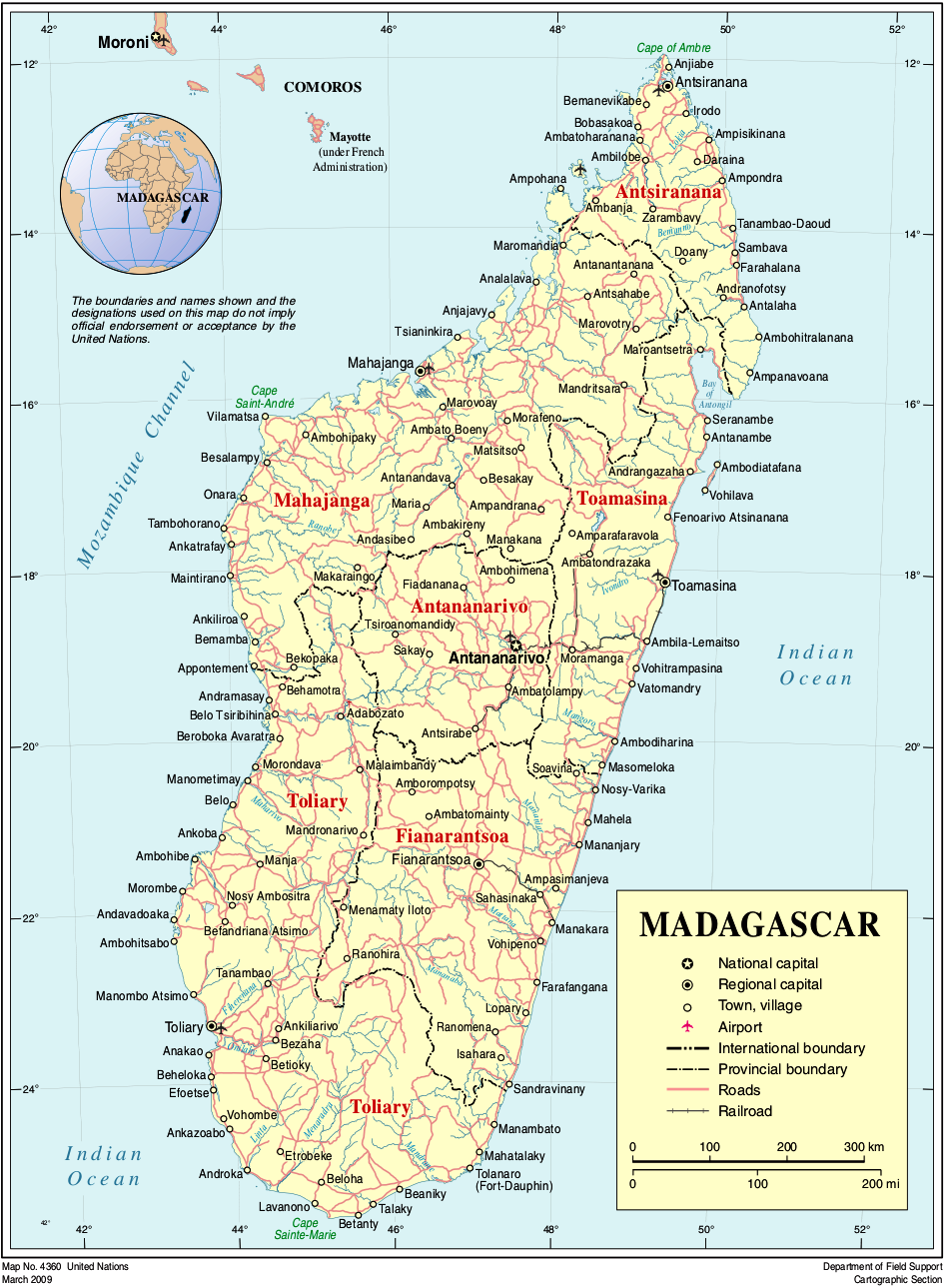 Map of Madagascar (Political Map) : Worldofmaps.net - online Maps and Travel Information
