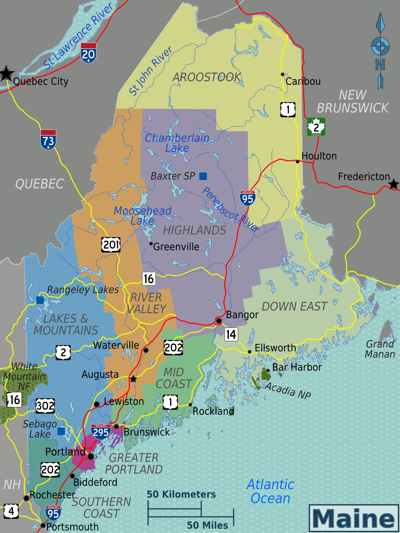 Maine State Maps USA Maps Of Maine ME Vector Color Map Maine - Map maine usa