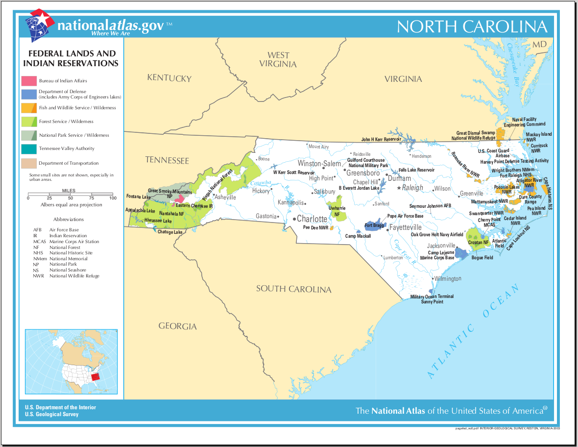 Map of North Carolina (Map Federal Lands and Indian Reservations ...