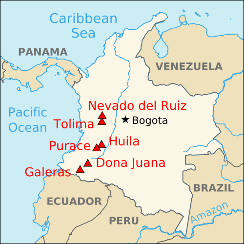 Map of Colombia (Map of Major Volcanos) : Worldofmaps.net - online ...
