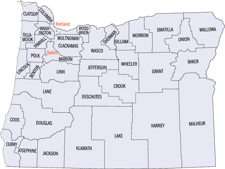Map of Oregon (Maps Counties) : Worldofmaps.net - online Maps and ...