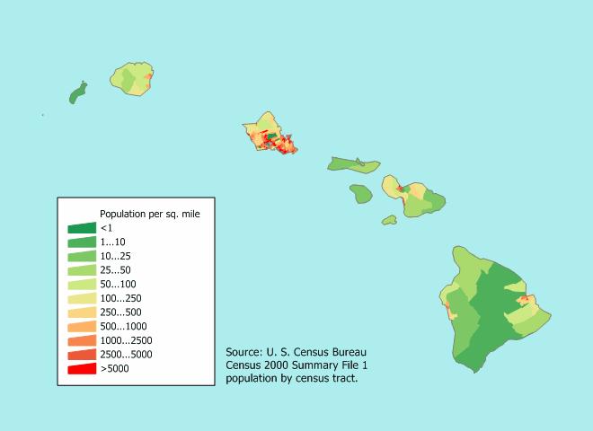 Density Of Island Hawaii