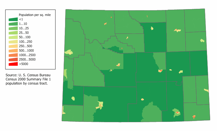 Map of Wyoming (Map Potion Density) : Worldofmaps.net - online ... S In Wyoming Map on