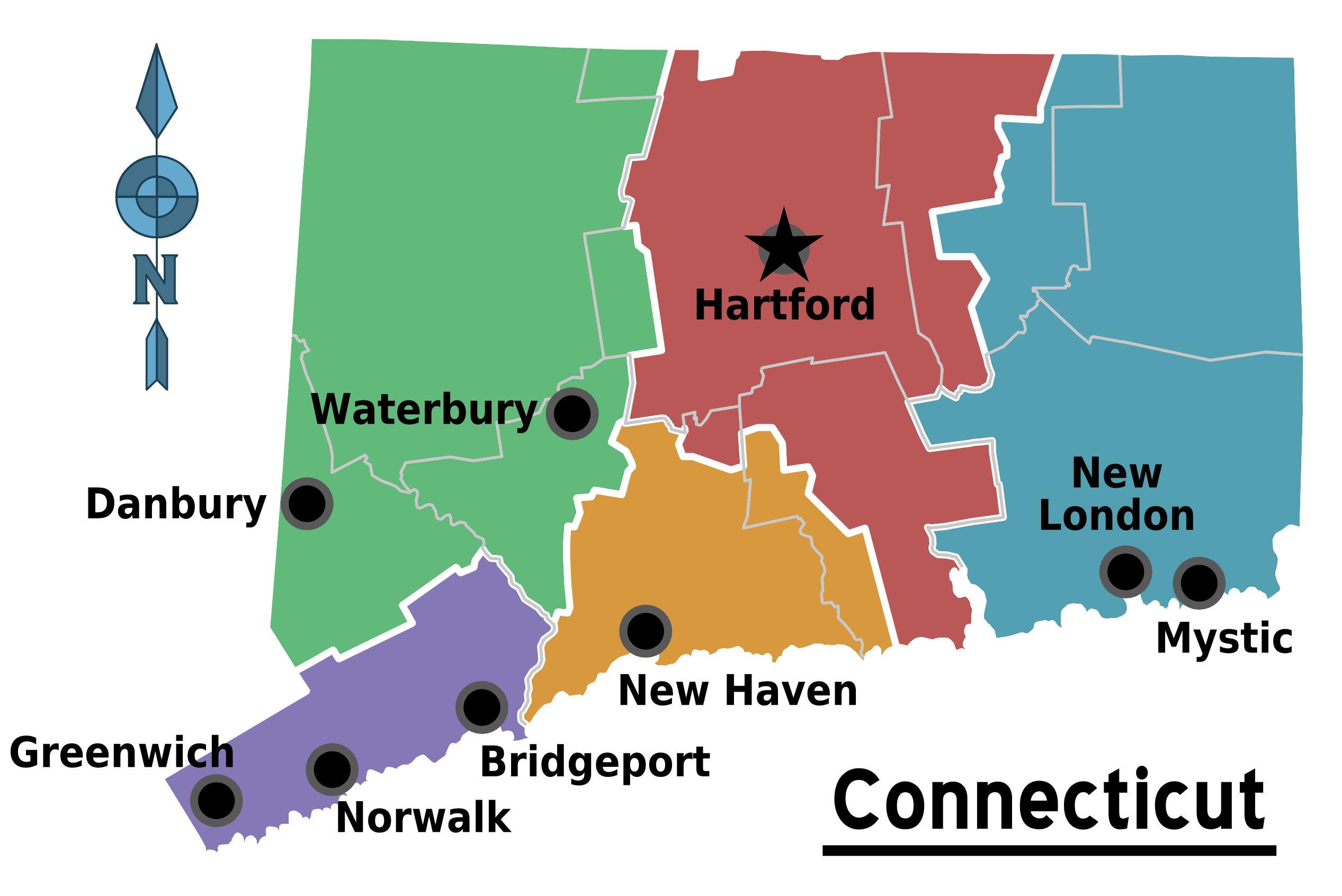 Map of Connecticut (Map Regions) : Worldofmaps.net - online Maps and ...