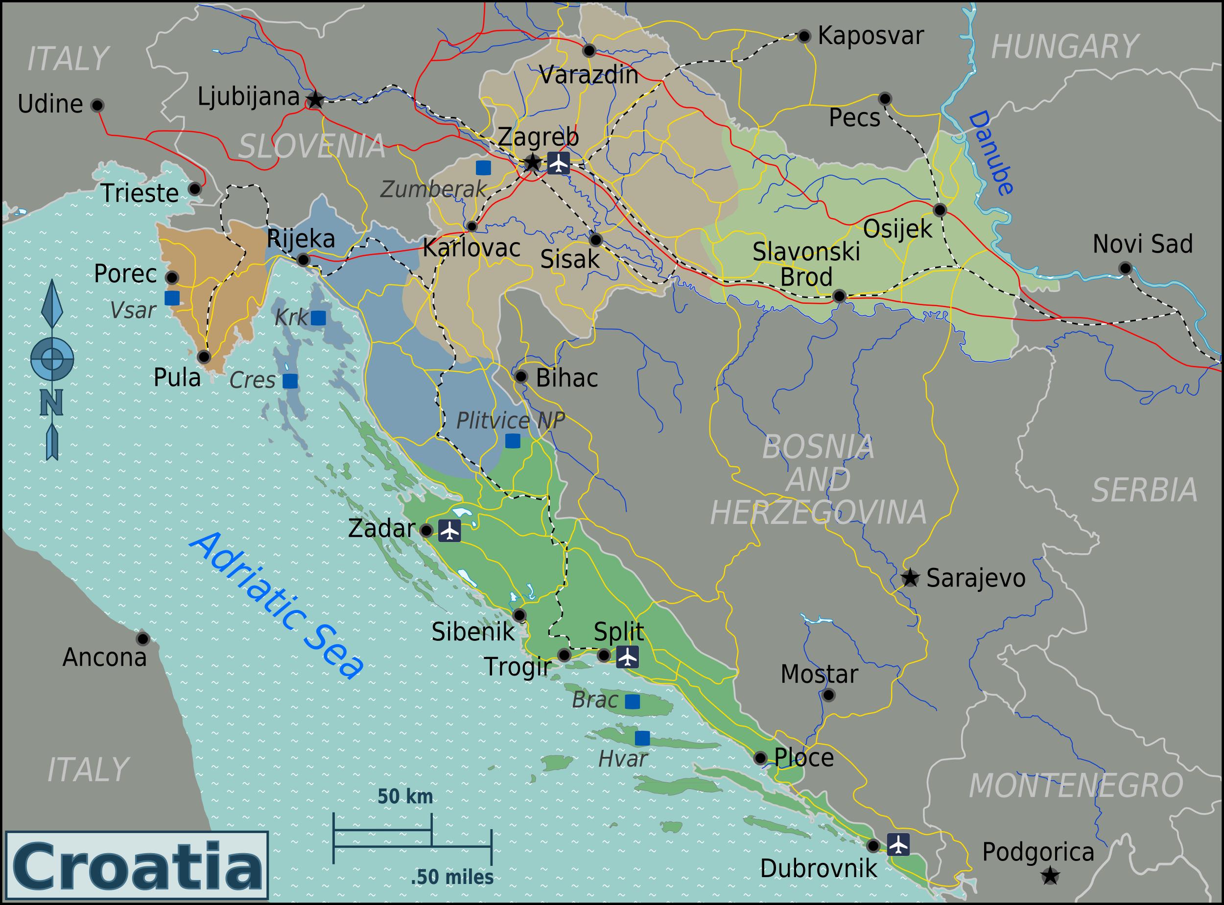 Map of Croatia (Overview Map/Regions) : Worldofmaps.net ...
