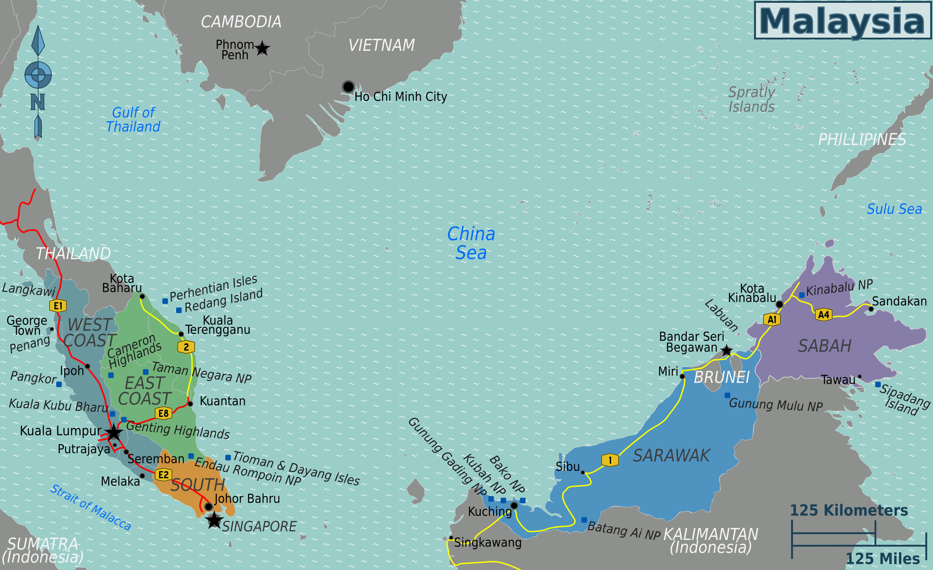Map of Malaysia (Map Regions) : Worldofmaps.net - online Maps and ...