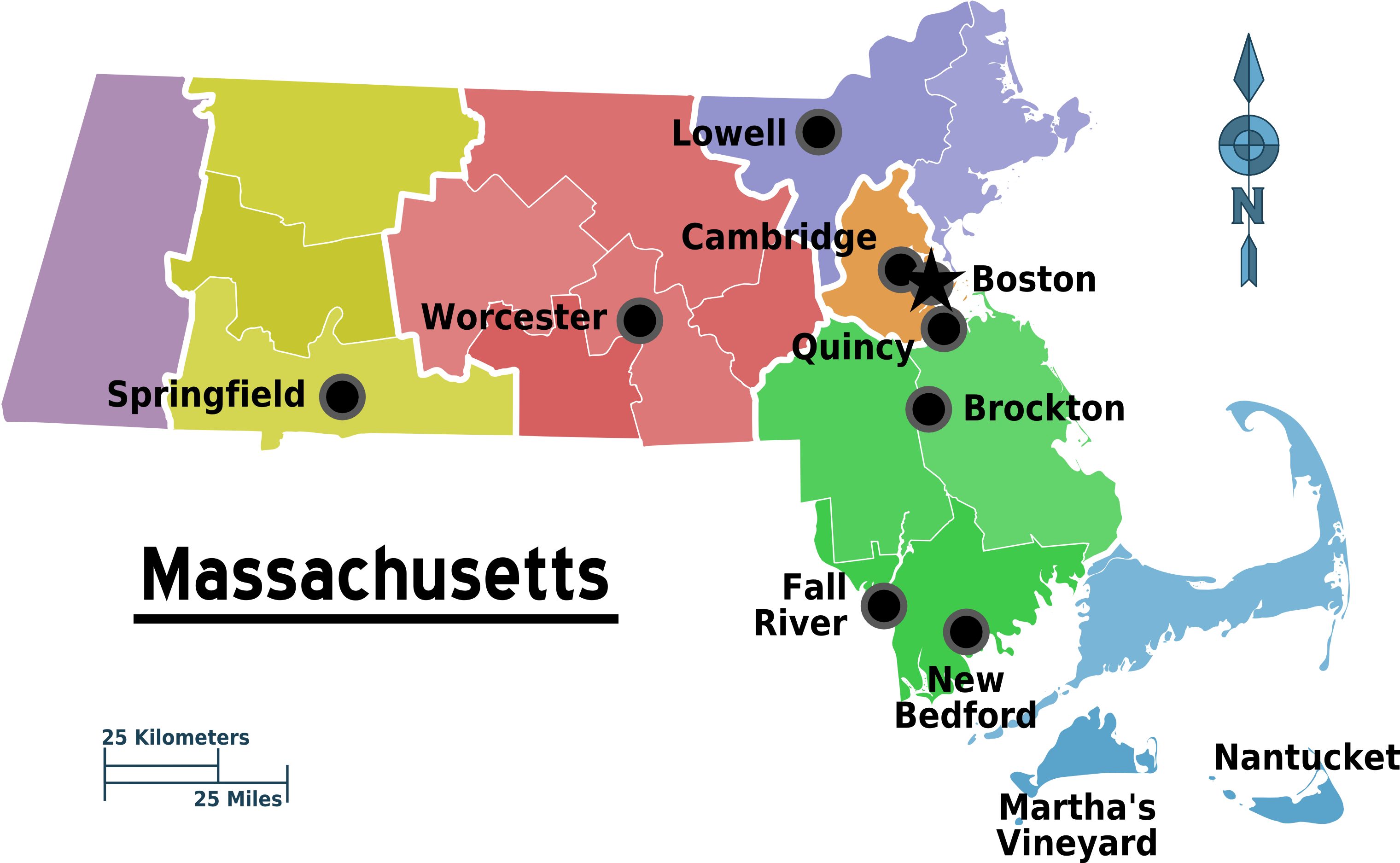 Map of Massachusetts (Map Regions) : Worldofmaps.net - online Maps ...