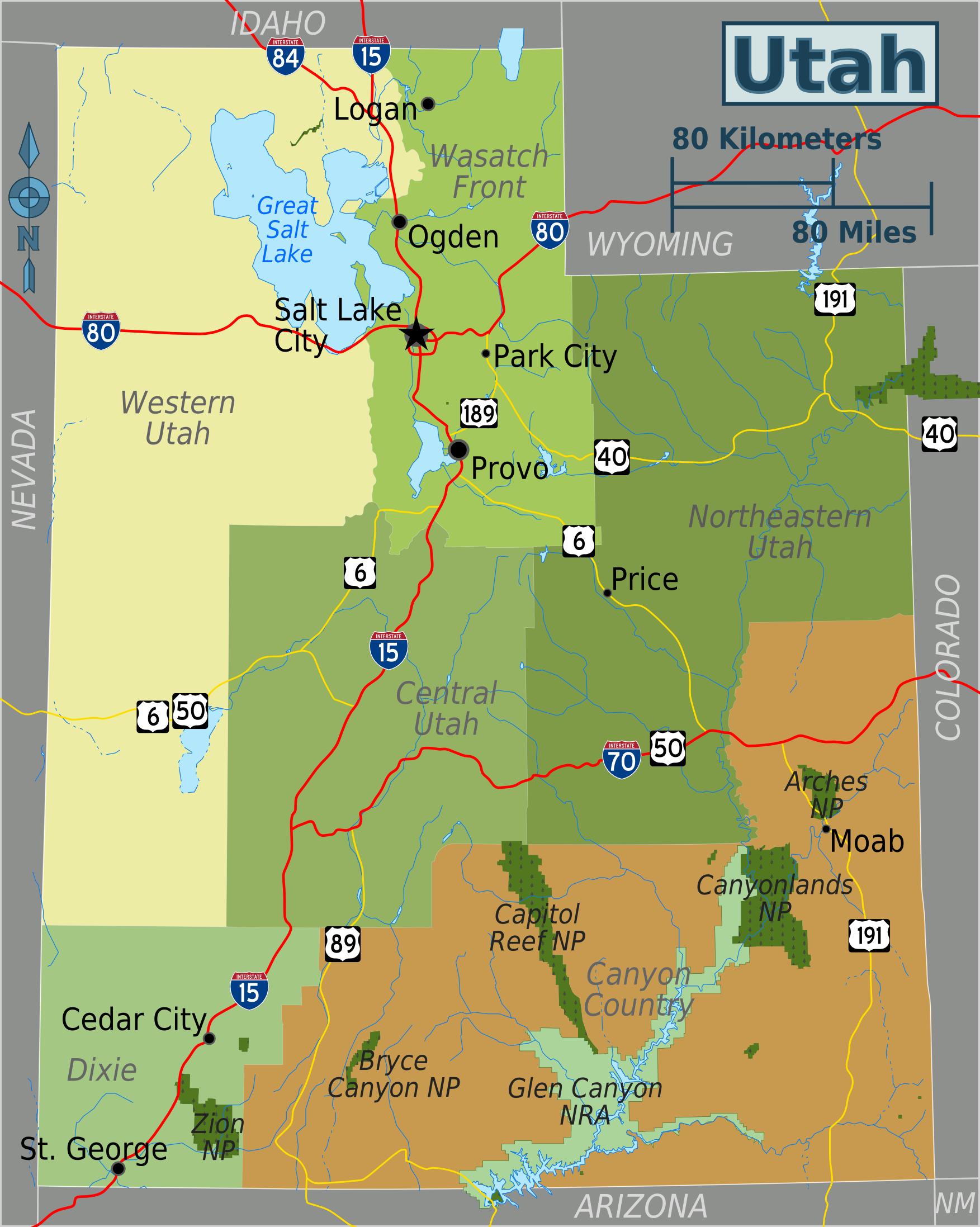 Map of Utah (Map Regions) : Worldofmaps.net - online Maps and Travel ...