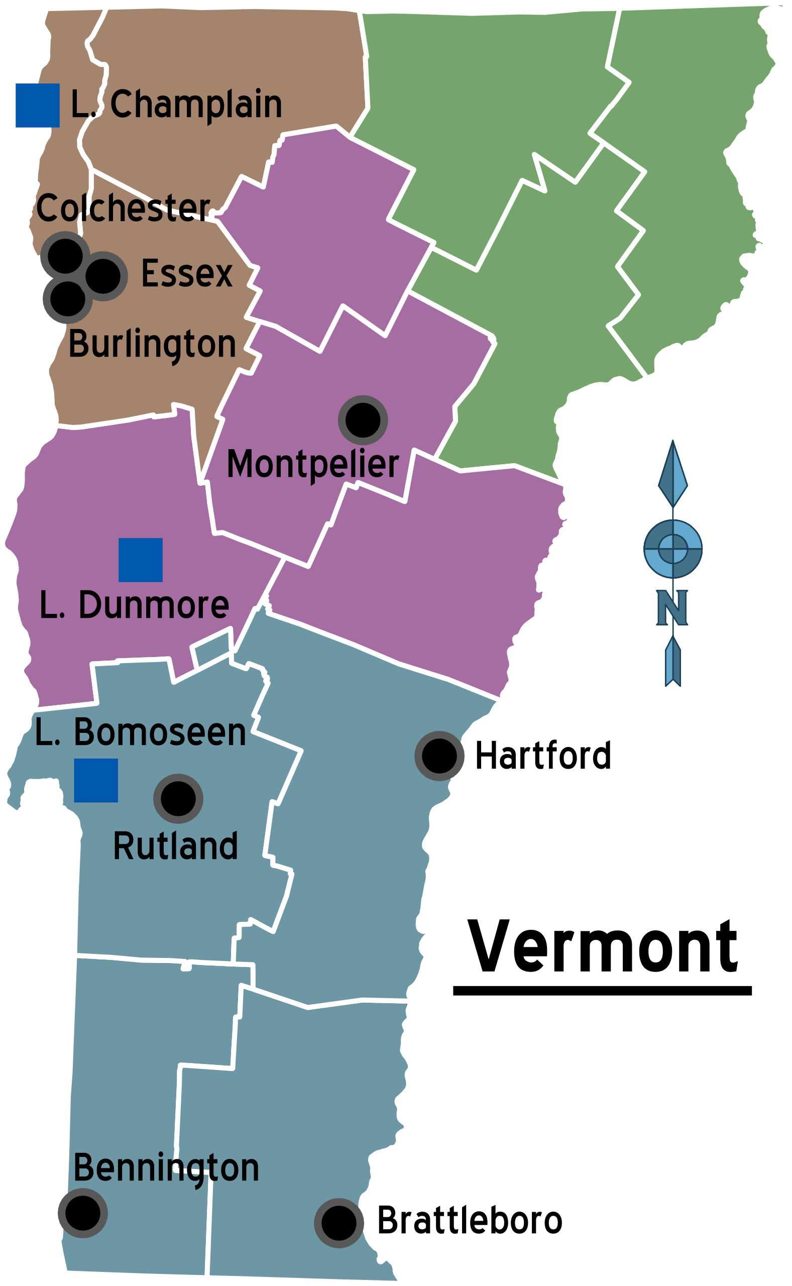 Map of Vermont (Overview Map/Regions) : Worldofmaps.net - online ...