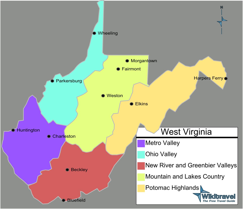 Map of West Virginia (Map Regions) : Weltkarte.com - Karten ...