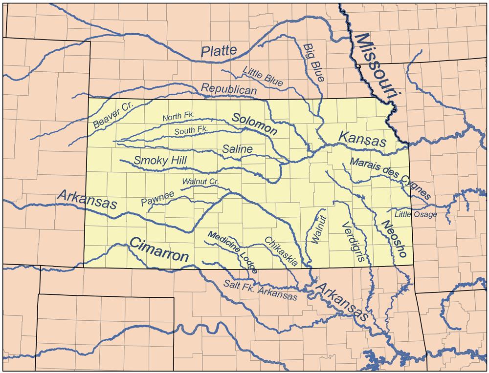Map of Kansas (Map Rivers) : Weltkarte.com - Karten und Stadtpläne Kansas On A Map on