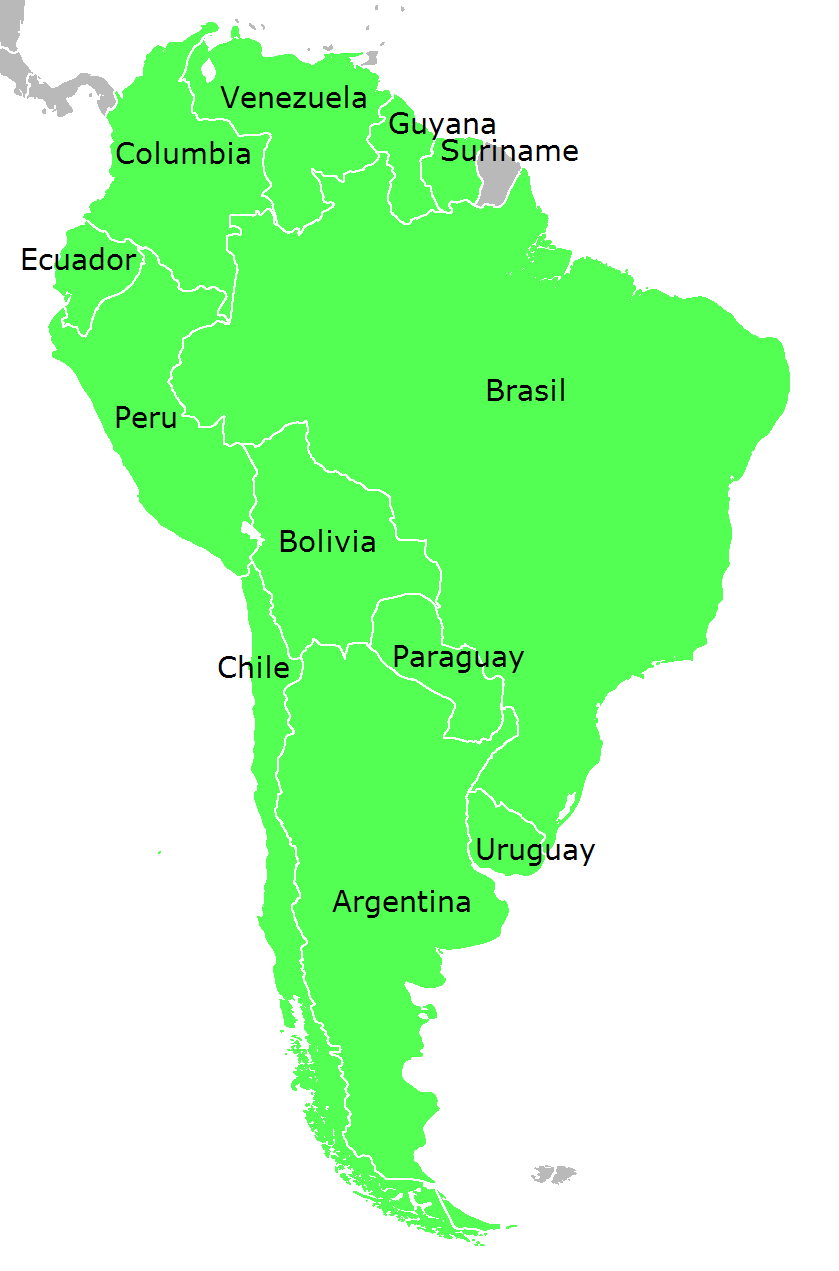 Map of South America (Political Map, English, small ...