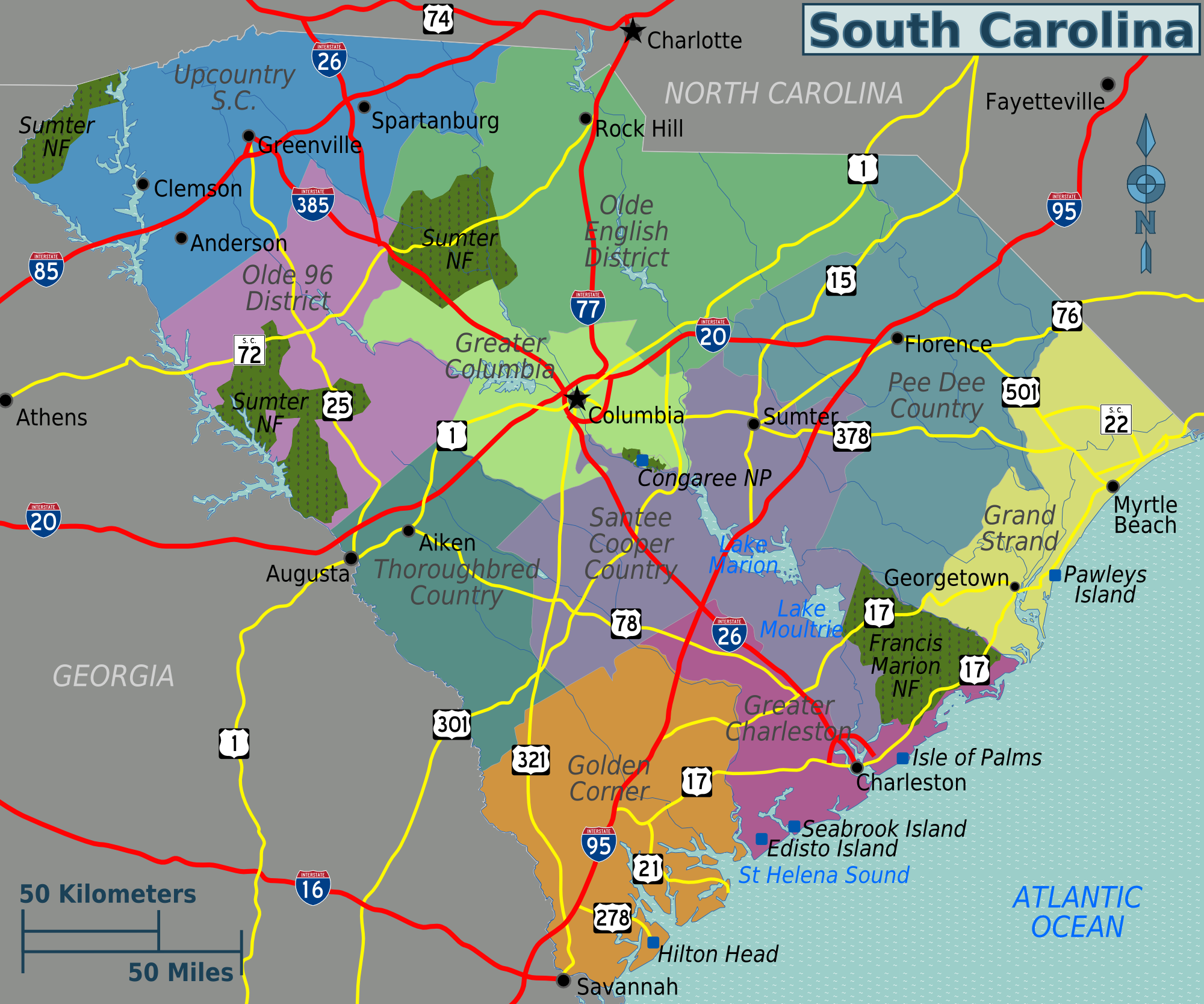 Map of South Carolina (Touristic Map) : Worldofmaps.net - online ...