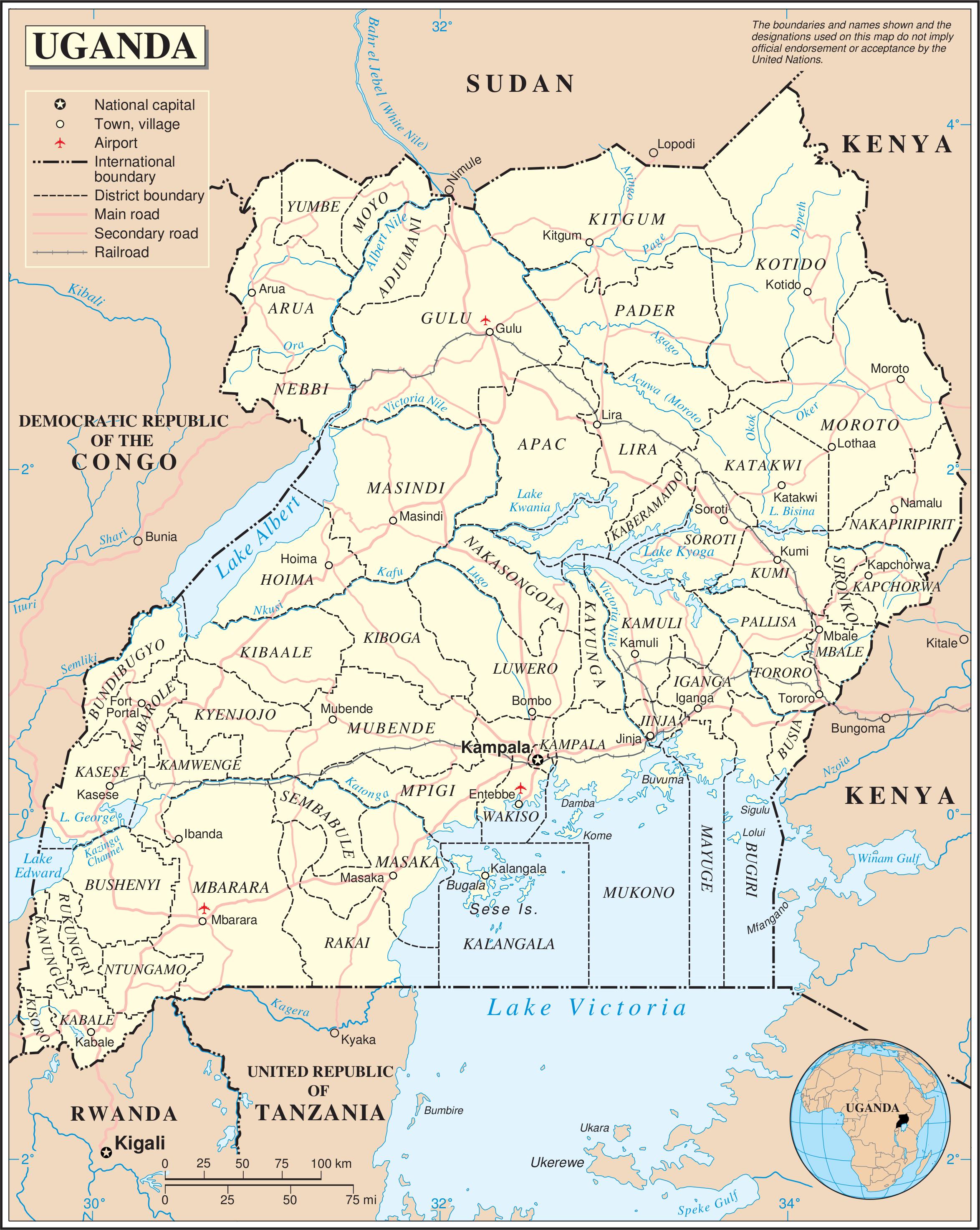 Map of Uganda (Political Map) : Worldofmaps.net - online Maps and ...