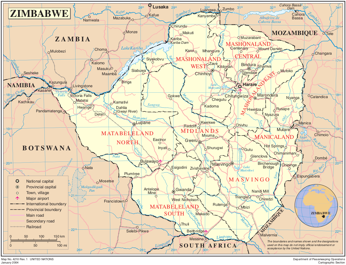 Map of Zimbabwe (Political Map) : Worldofmaps.net - online Maps and ...