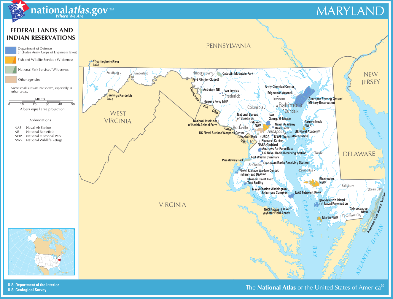 Map Of Maryland Map Federal Lands And Indian Reservations - Us indian reservation map