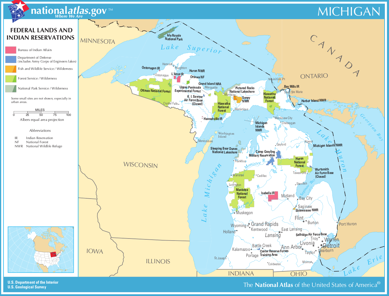 Map of Michigan (Map Federal Lands and Indian Reservations ...