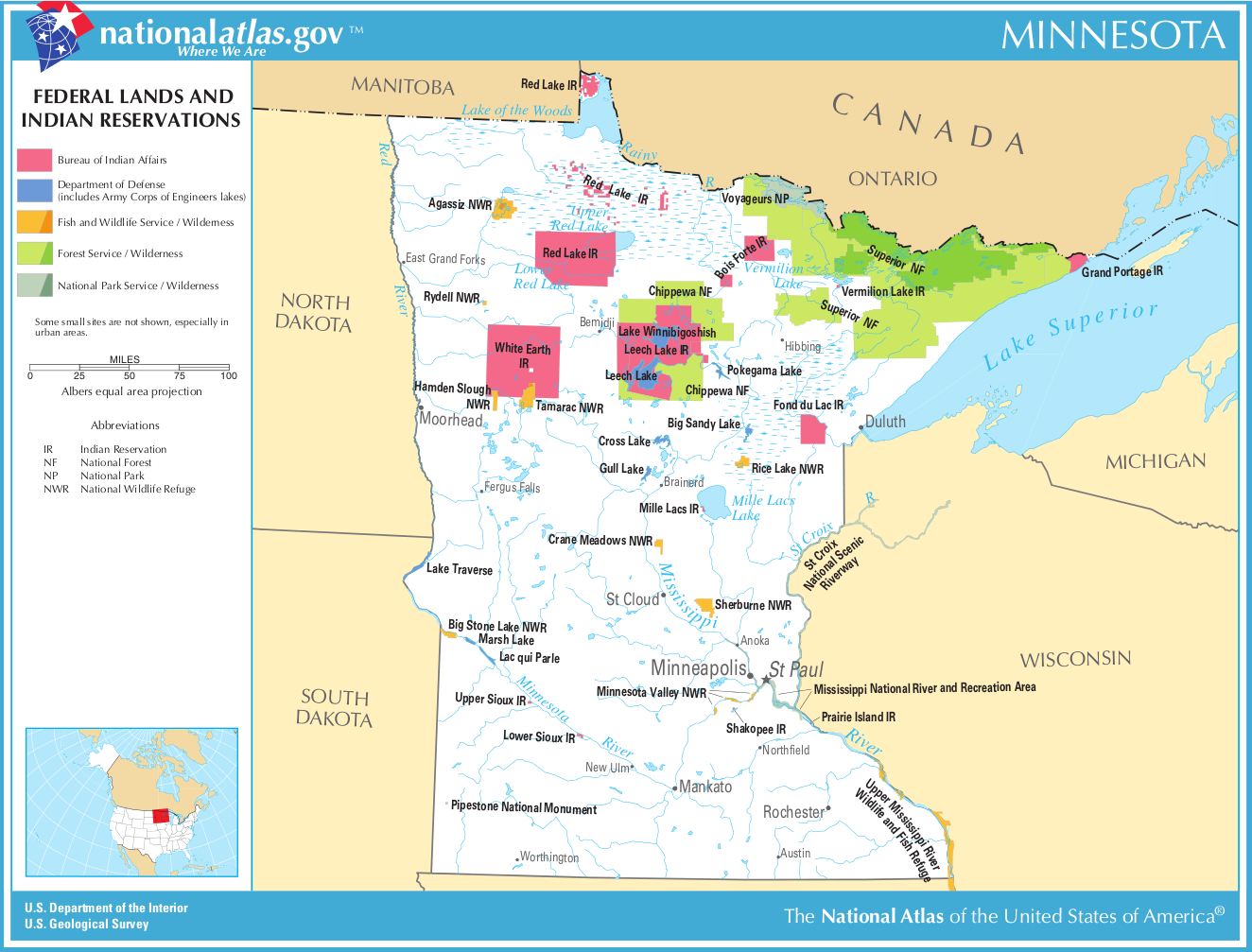 Map of Minnesota (Map Federal Lands and Indian Reservations ...
