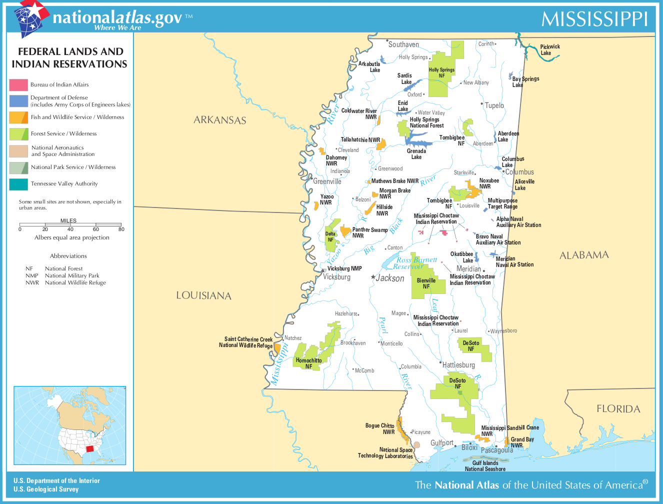 Map of Mississippi (Map Federal Lands and Indian ...