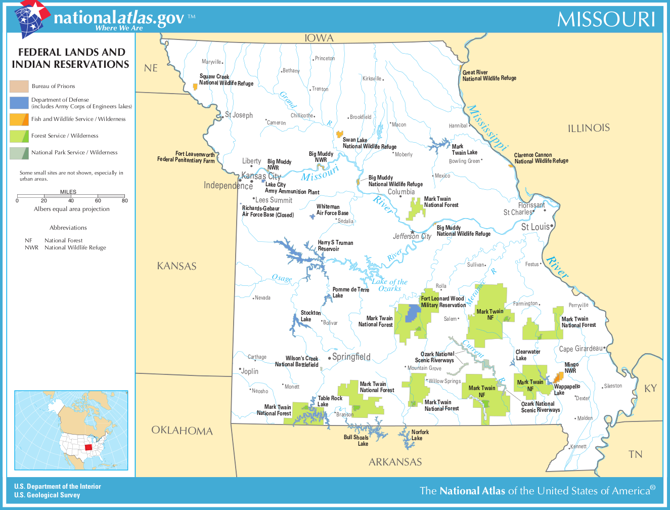 Map Of Missouri Map Federal Lands And Indian Reservations - Missourimap