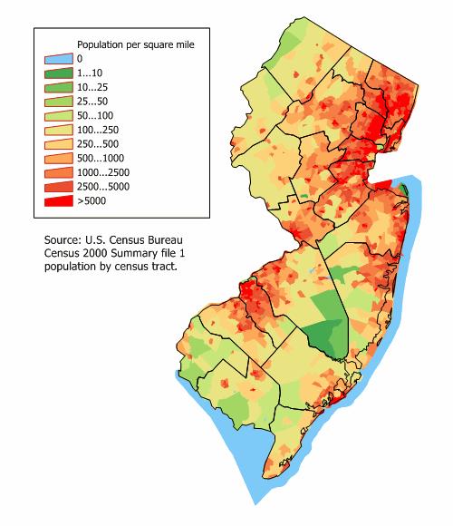 Map Of New Jersey Map Population Density Worldofmapsnet - Map if new jersey
