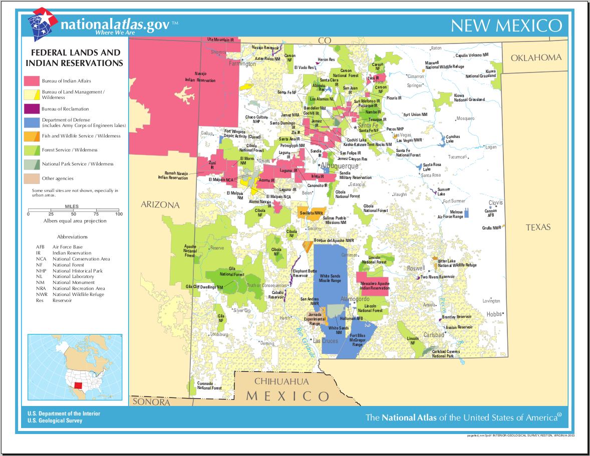 Map of New Mexico (Map Federal Lands and Indian Reservations ...