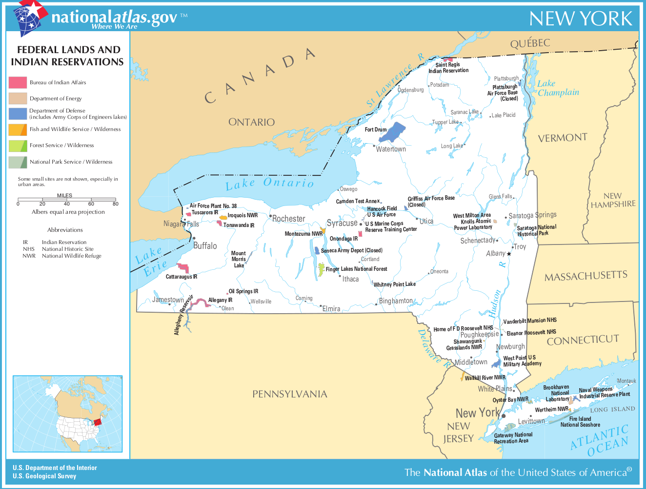 Map Of New York Indian Reservations.Map Of New York Federal Lands And Indian Reservations