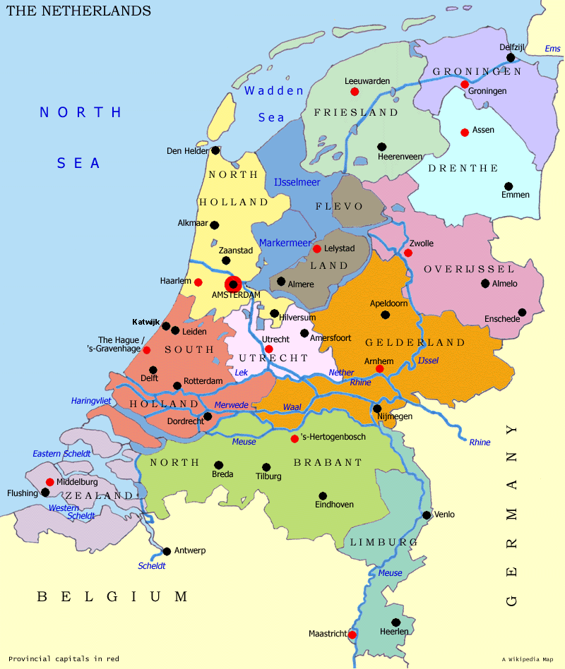 Map of the Netherlands (Administrative Divisions) : Worldofmaps.net ...