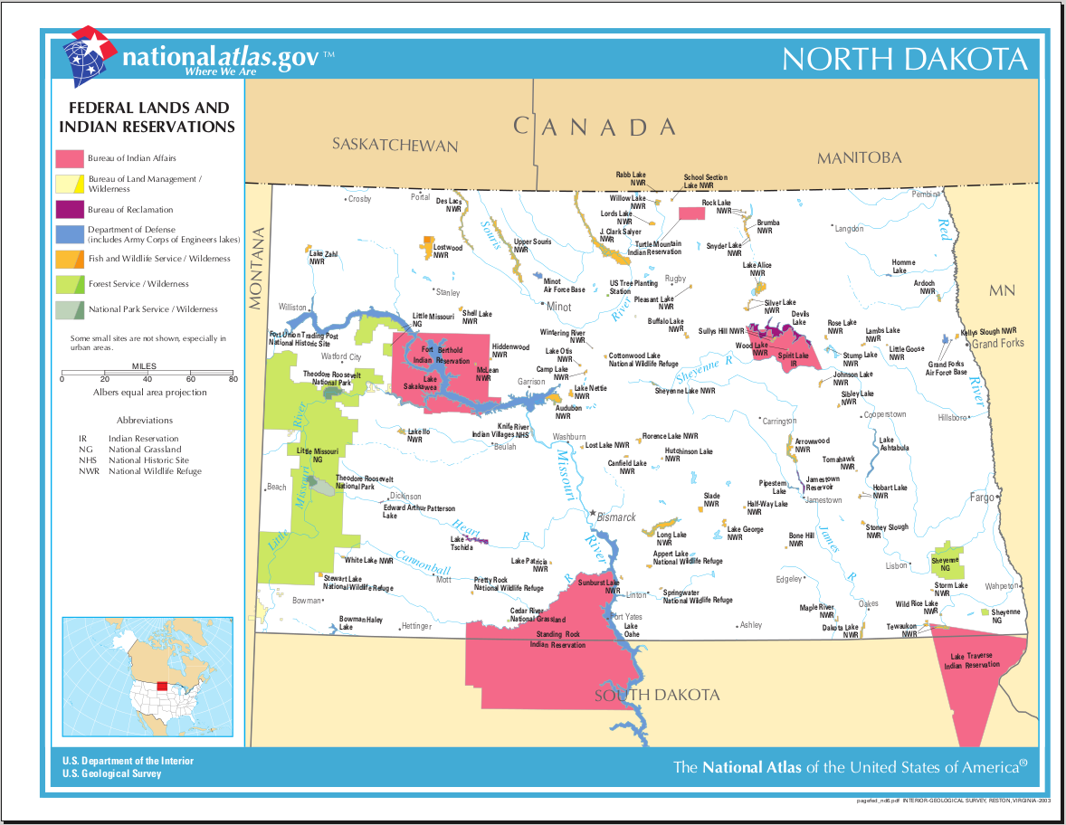 Map Of North Dakota Map Federal Lands And Indian Reservations - Maps of north dakota