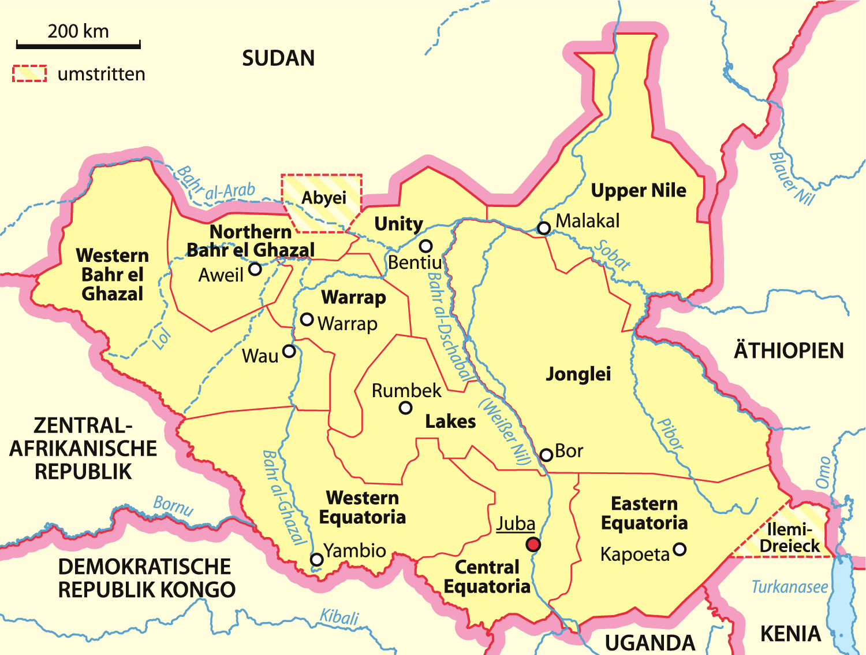 Map Of South Sudan Overview Map German Worldofmapsnet - Sudan map download