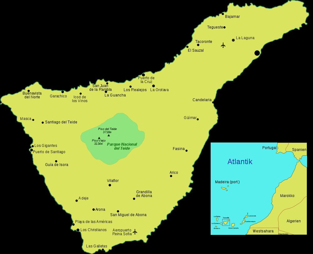 Map of Tenerife (Overview Map, German) : Worldofmaps.net ...