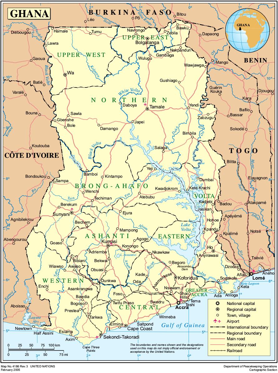 ghana karte Map of Ghana (Political Map) : Worldofmaps.  online Maps and