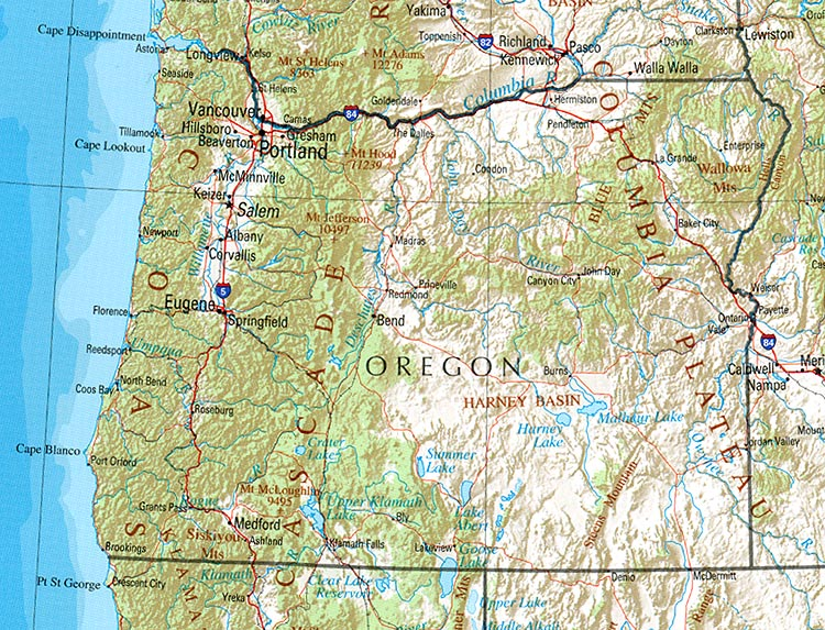 Map of Oregon (Overview Map) : Worldofmaps.net - online Maps ...