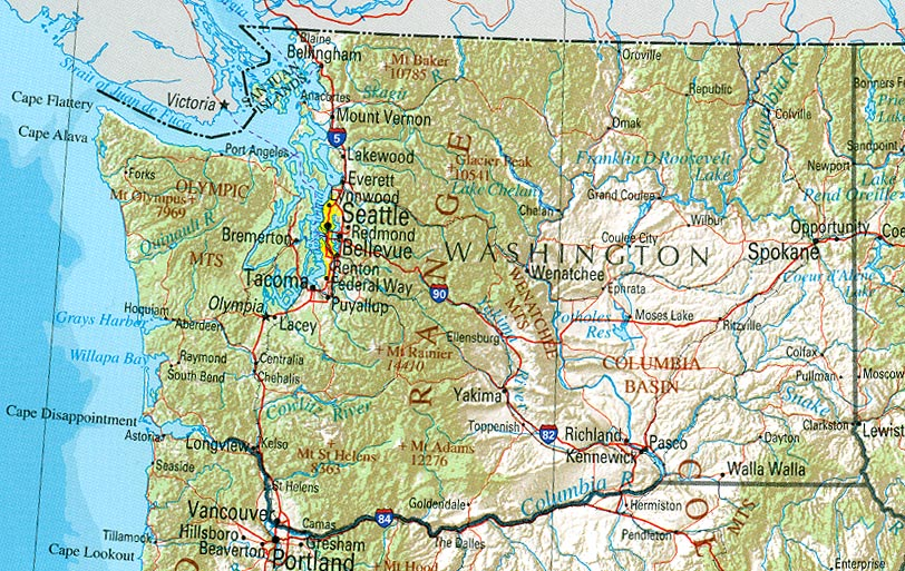 Map of Washington (Overview Map) : Worldofmaps.net - online Maps and ...