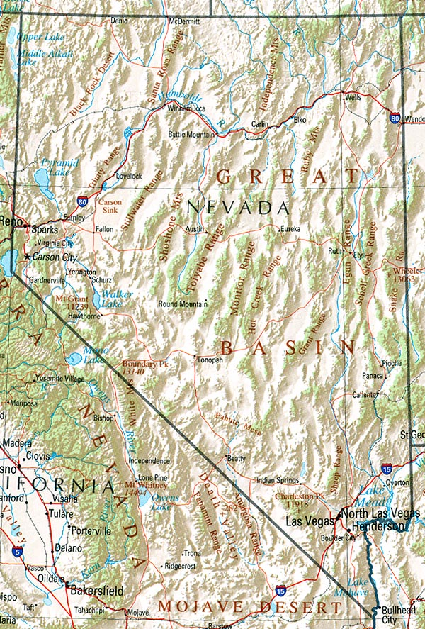 Map of Nevada (Overview Map) : Worldofmaps.net - online Maps ...