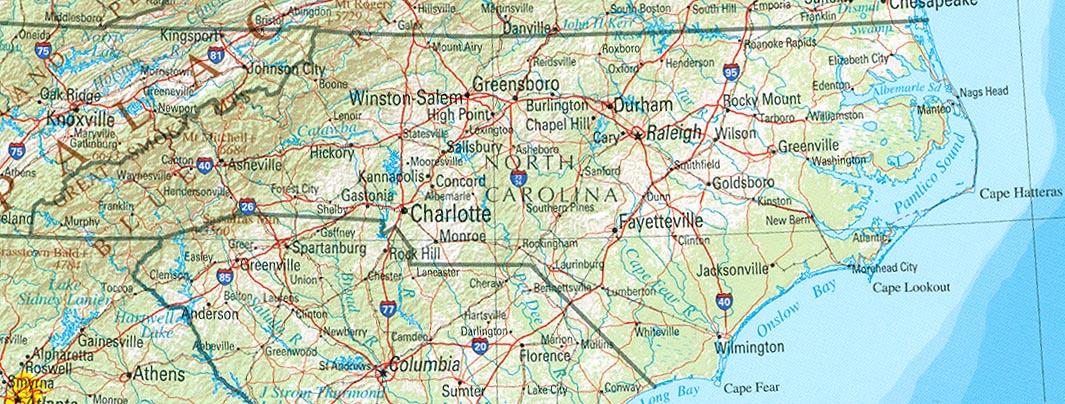 Map of North Carolina (Overview Map) : Worldofmaps.net ...