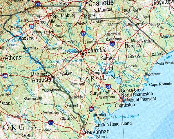 Map of South Carolina (Overview Map) : Worldofmaps.net - online Maps ...