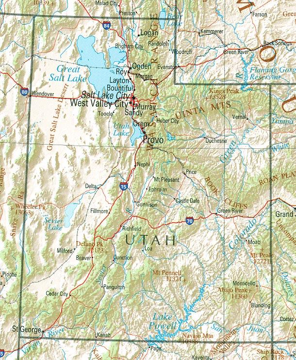 Map of Utah (Overview Map) : Worldofmaps.net - online Maps ...