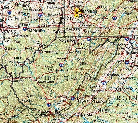 Map of West Virginia (Overview Map) : Worldofmaps.net ...