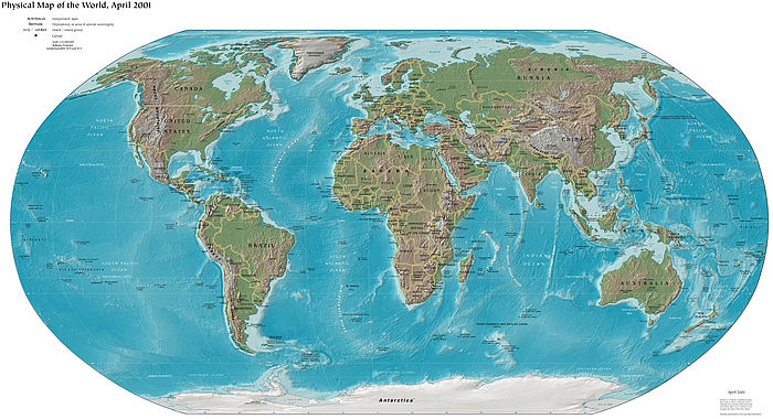 World Map Relief Map online Maps and Travel Information