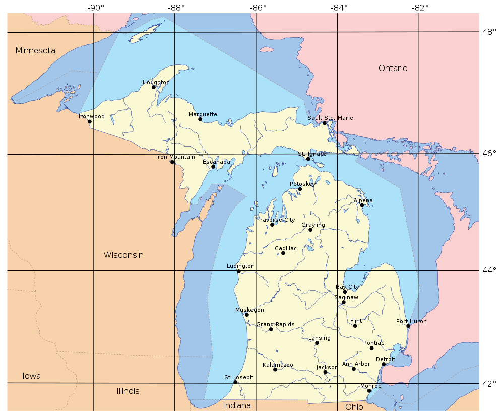 Map of Michigan (Overview Map/Cities) : Worldofmaps.net - online ...