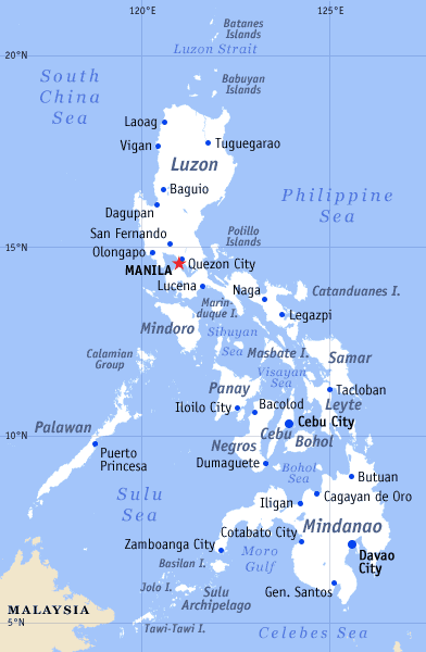 Maps of the Philippines Small Overview Map  Worldofmapsnet