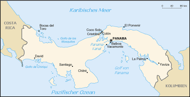 Map of Panama (Small Overview Map) : Worldofmaps.net - online Maps ...