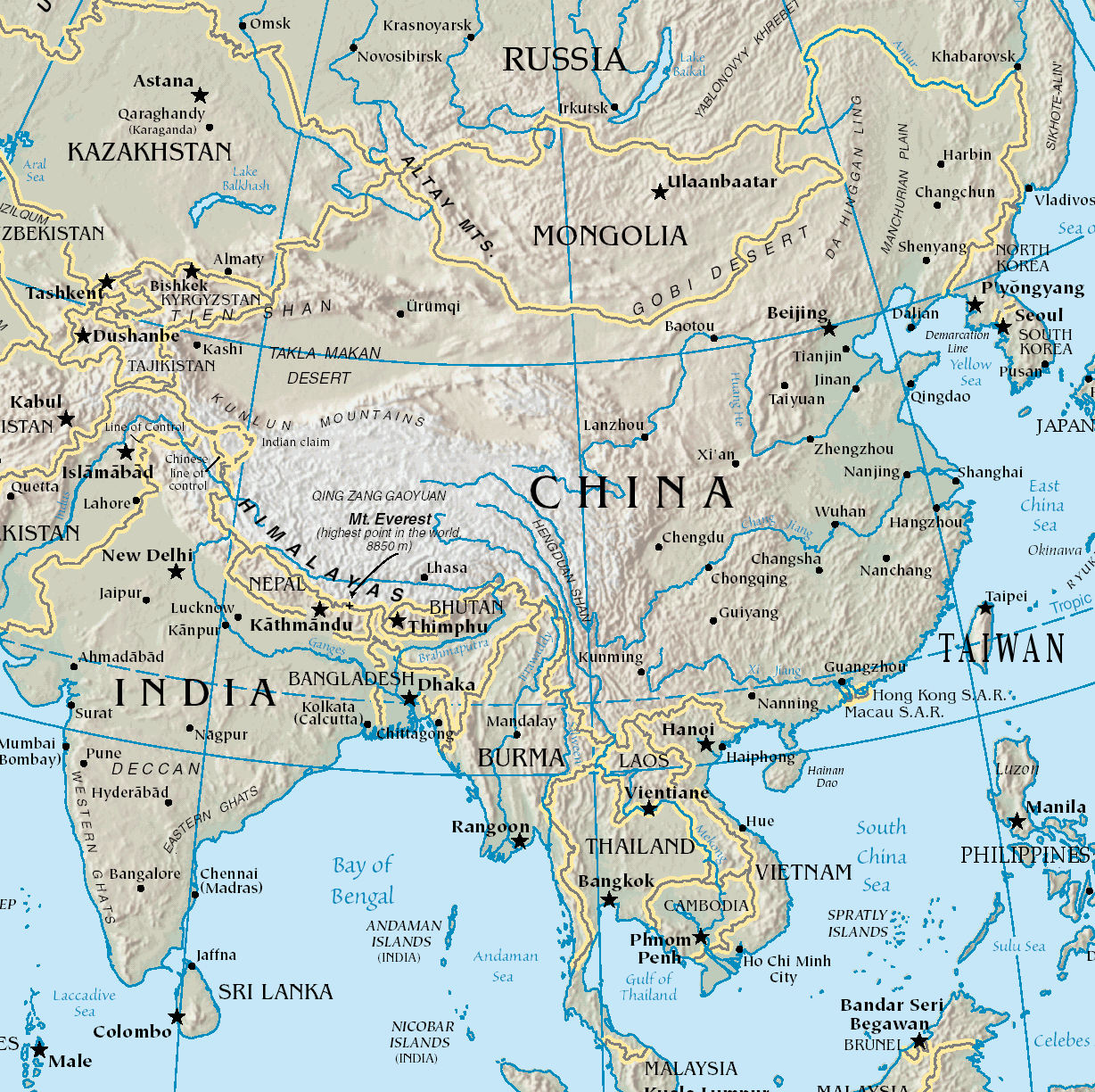 Karte China.Map Of China Physical Map Worldofmaps Net Online Maps And