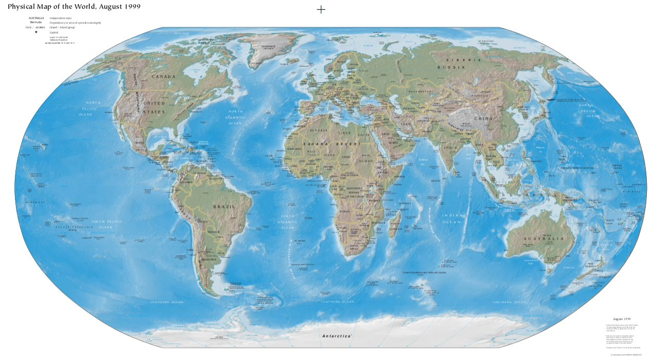 World Map (Physical Worldmap - PDF) : Worldofmaps net - online Maps